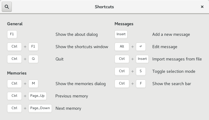 Shortcuts window