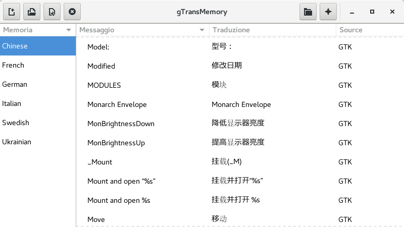 Main window di gTransMemory 0.0.1